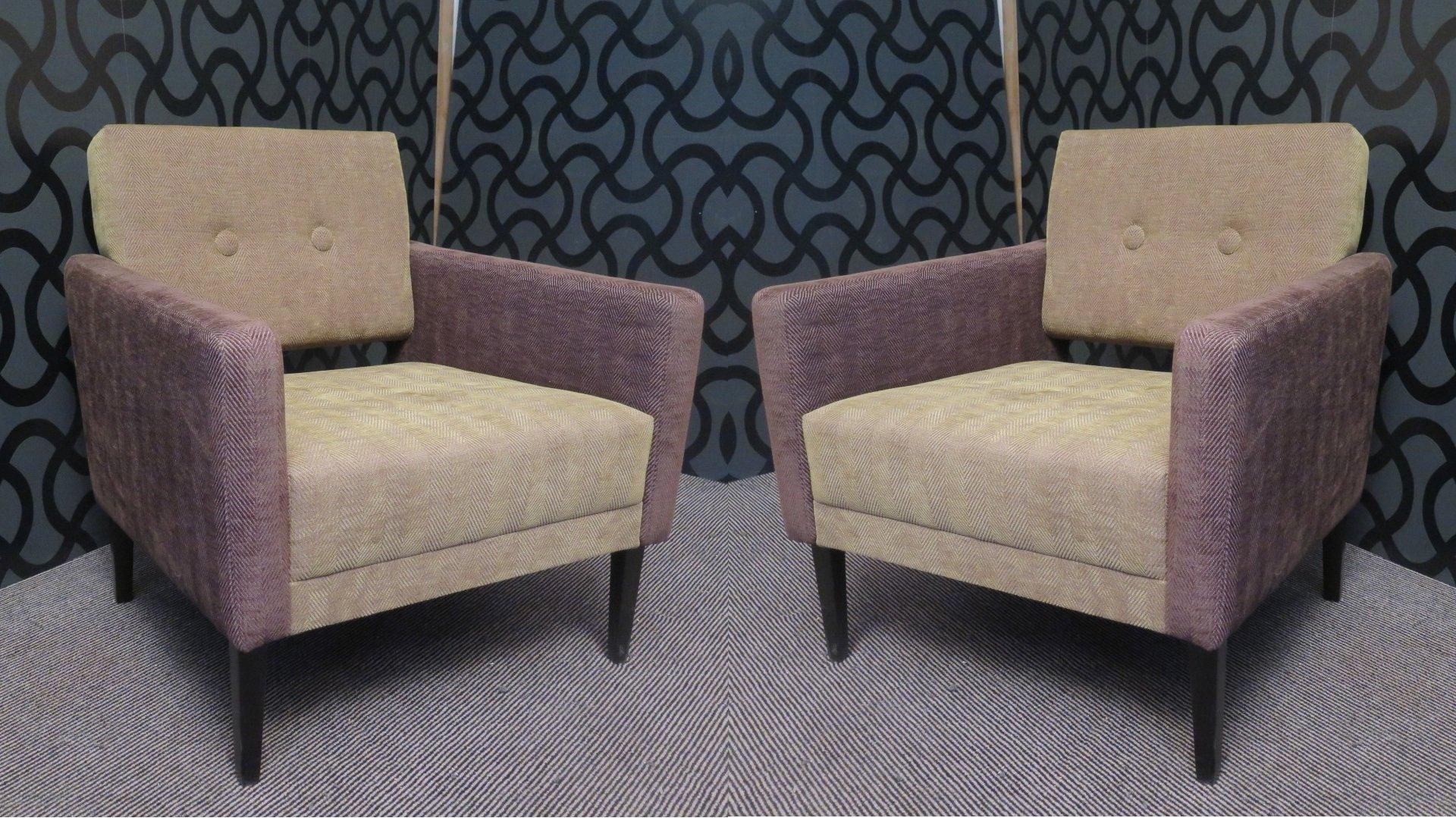 italienische sessel aus samt in gr n lila 1950er 2er set bei pamono kaufen. Black Bedroom Furniture Sets. Home Design Ideas