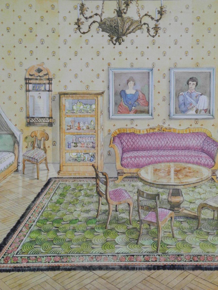 tableau mural d cole vintage int rieur poque biedermeier par dr schwankl pour georg. Black Bedroom Furniture Sets. Home Design Ideas
