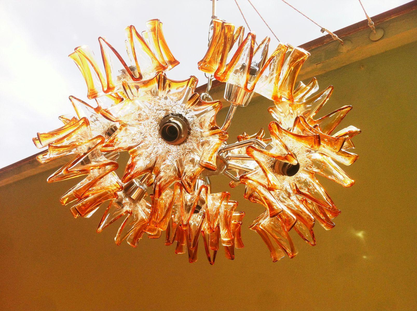 Mid Century Sputnik Flower Chandelier in Murano Glass from Mazzega