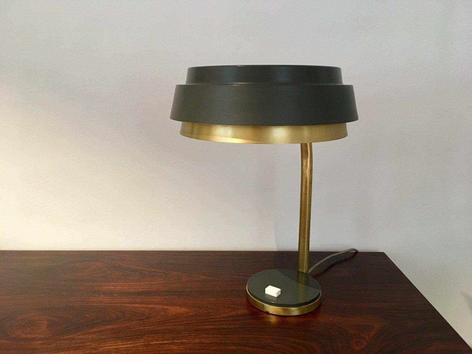 lampe de bureau vintage en laiton et m tal gris en vente sur pamono. Black Bedroom Furniture Sets. Home Design Ideas