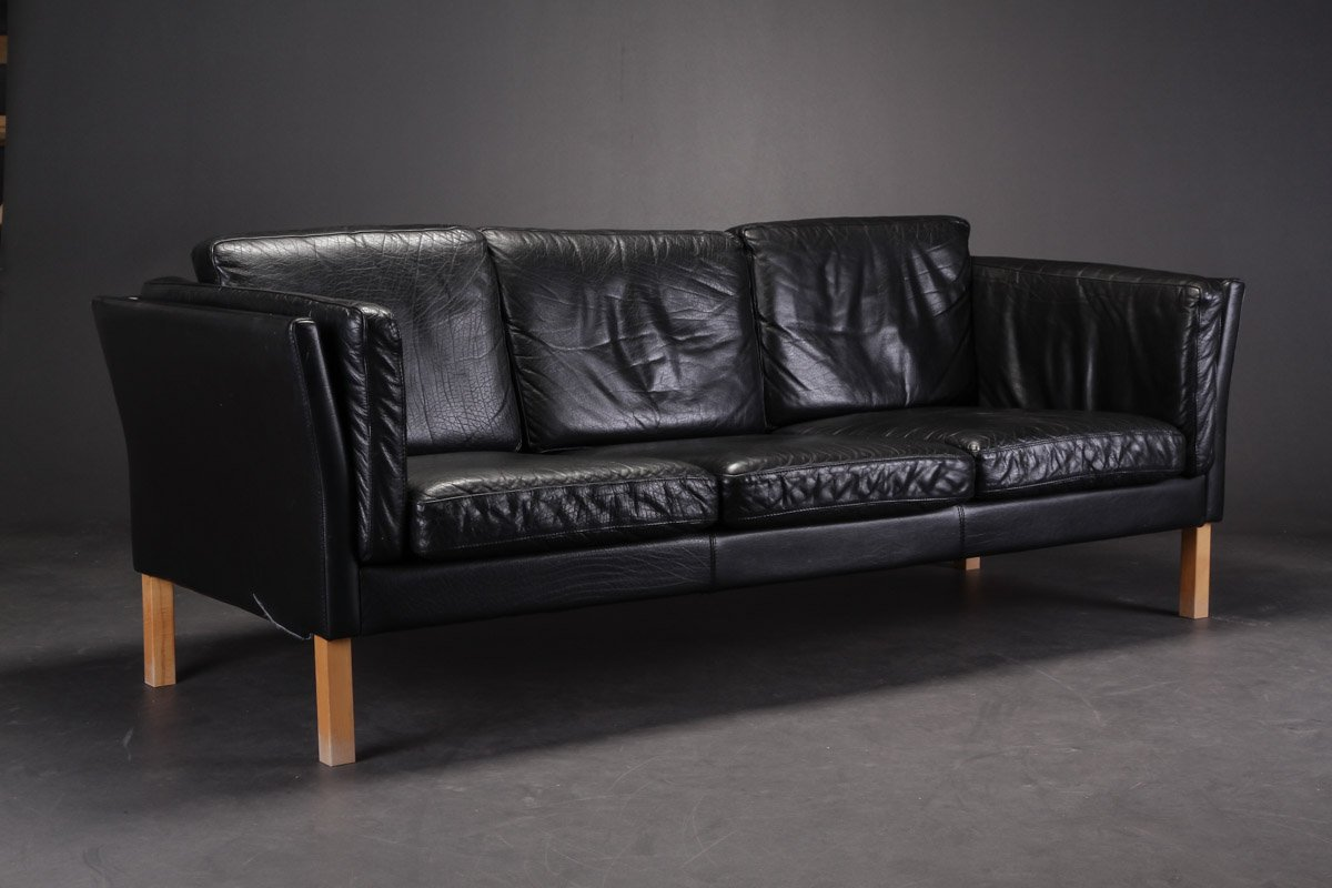 Perfect Vintage Danish Black Leather Sofas, Set Of 2