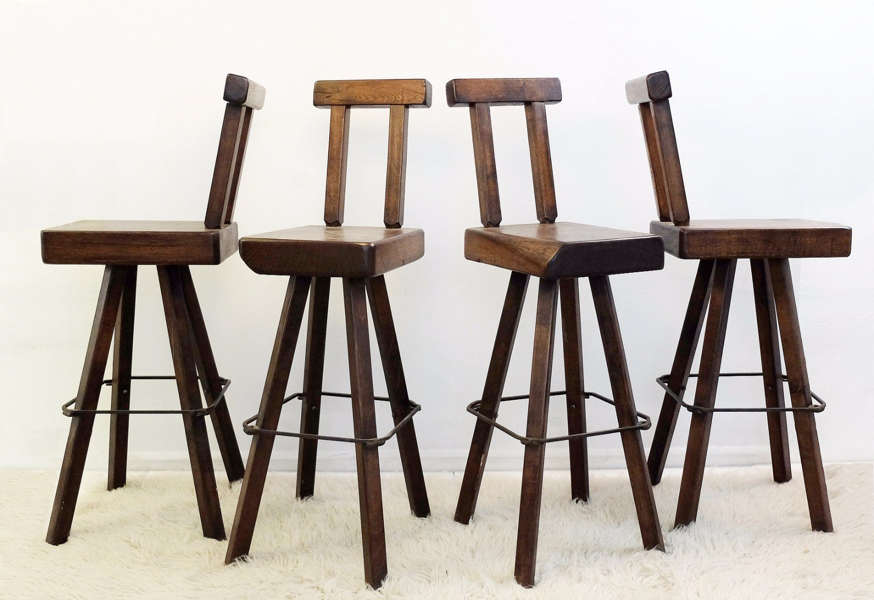 Solid Wood Swivel Bar Stools, Set Of 4 For Sale At Pamono