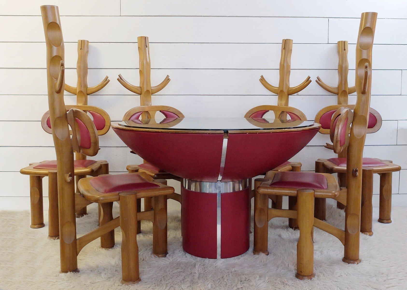 table de salle manger vintage avec 6 chaises br sil en vente sur pamono. Black Bedroom Furniture Sets. Home Design Ideas