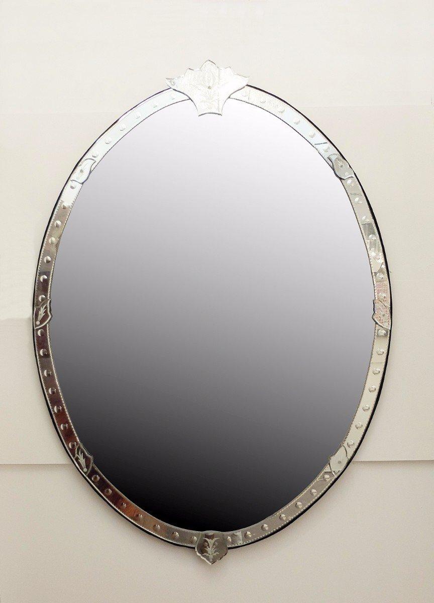 Tr s grand miroir v nitien ovale en vente sur pamono for Tres grand miroir rond