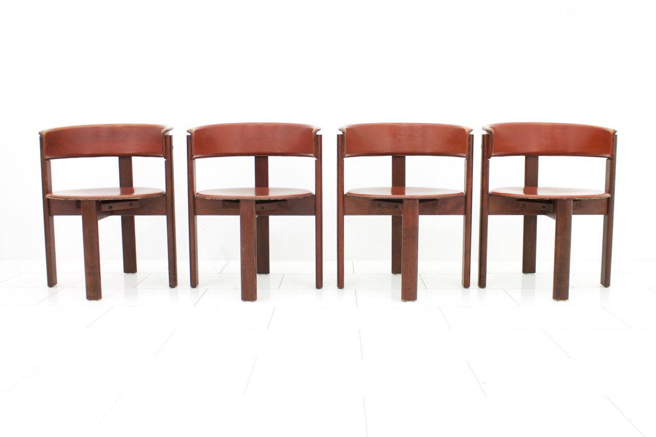 Vintage italian leather walnut dining room chairs by for Dining room furniture australia only