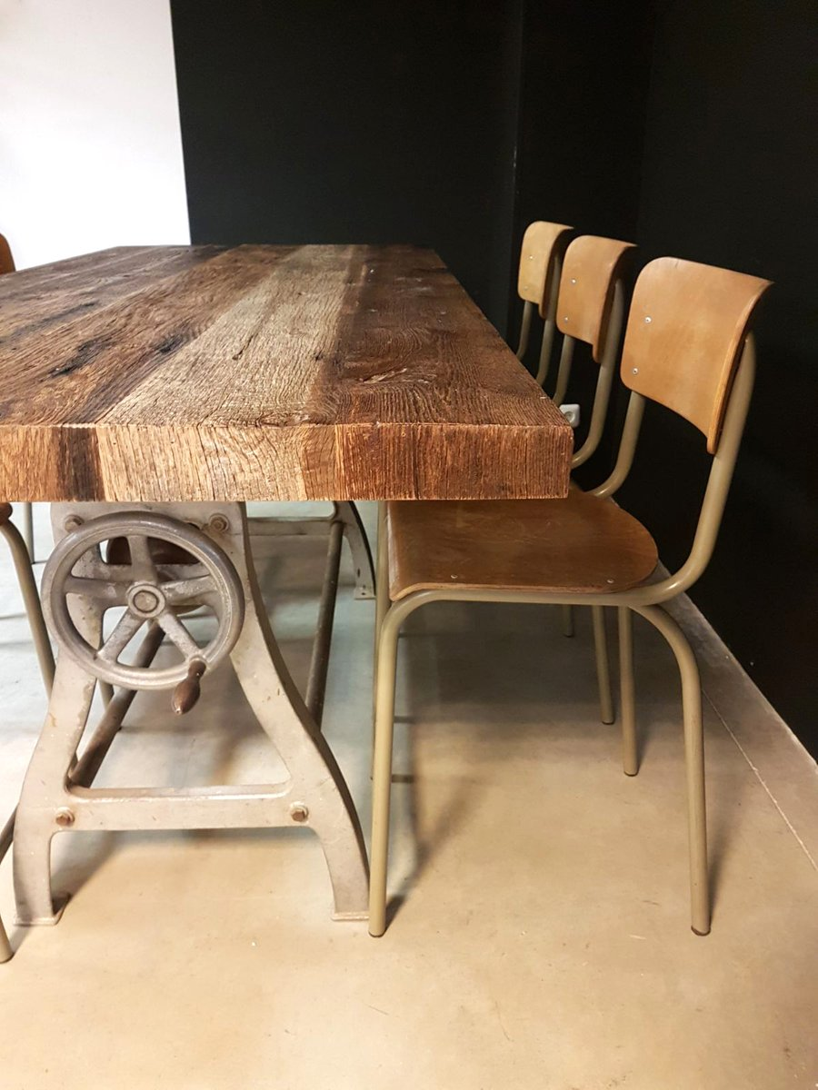 Vintage Industrial Dining Room Table. Vintage Industrial Dining Table 5  4 396 00 Price per piece for sale at Pamono