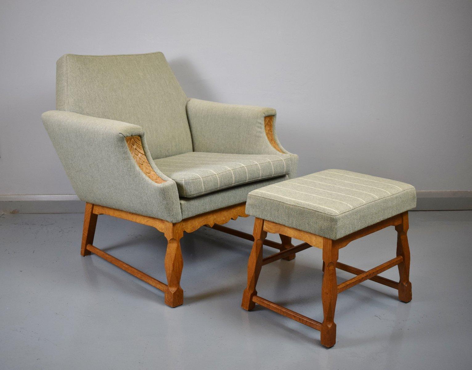 d nischer mid century sessel mit hocker bei pamono kaufen. Black Bedroom Furniture Sets. Home Design Ideas