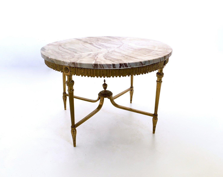 italienischer couchtisch aus marmor messing 1950er bei. Black Bedroom Furniture Sets. Home Design Ideas