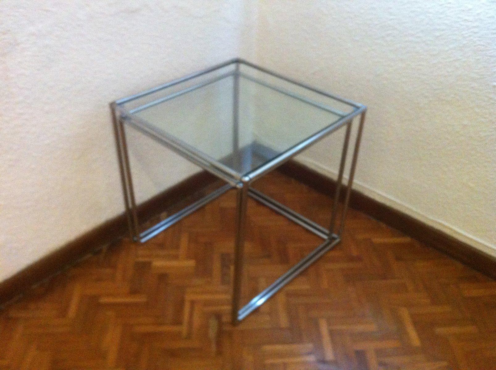 Mid century minimalist chrome glass nesting tables 1960s set of price per set watchthetrailerfo