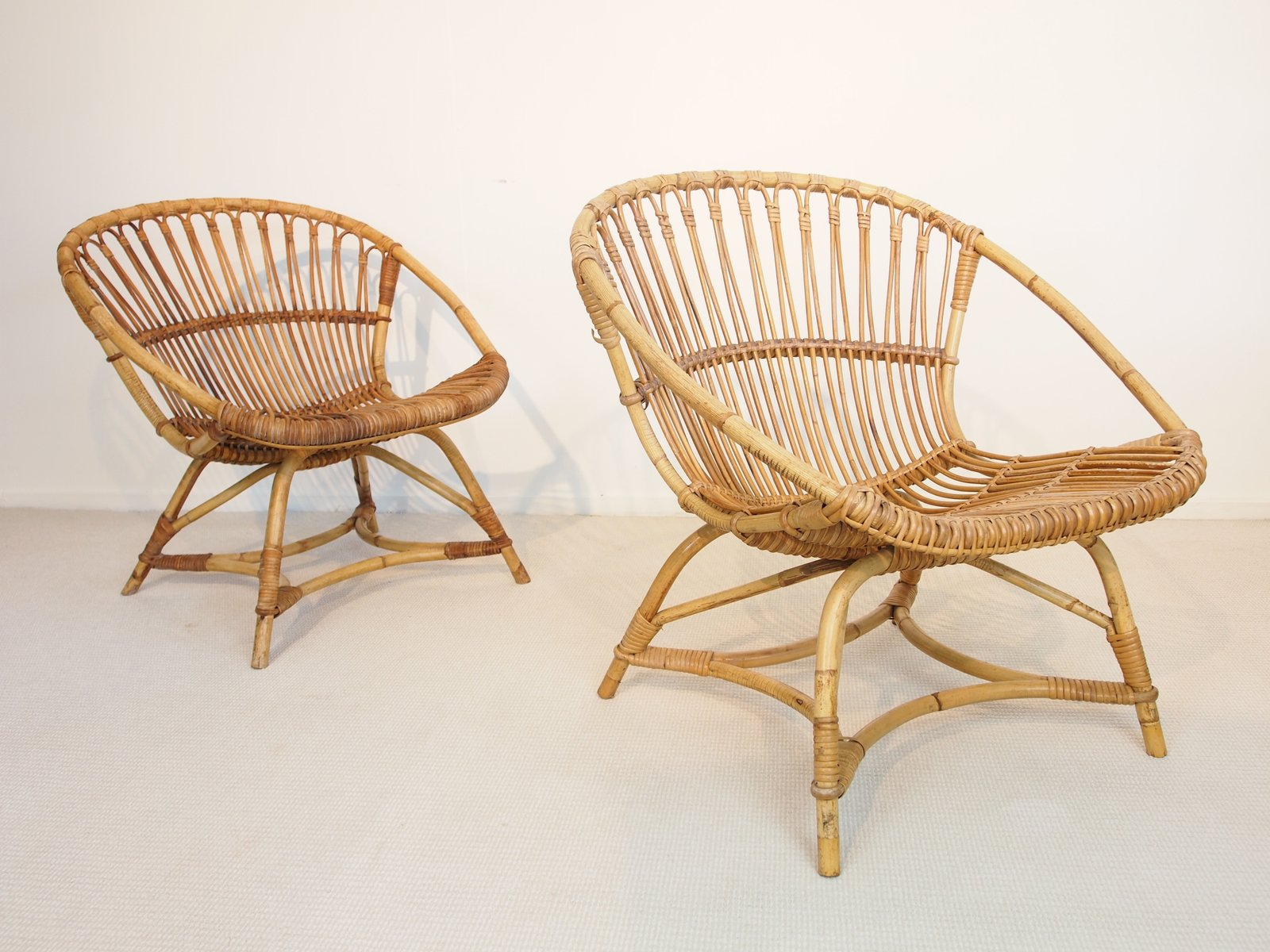 High Quality Mid Century Dutch Rattan Lounge Chairs By Dirk Van Sliedregt For