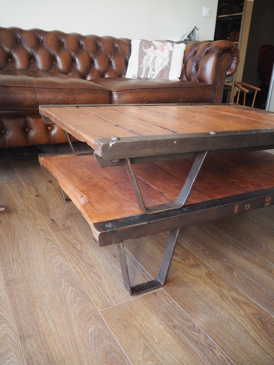 Table basse industrielle palette france 1950s en vente sur pamono - Table basse palette industrielle vintage ...