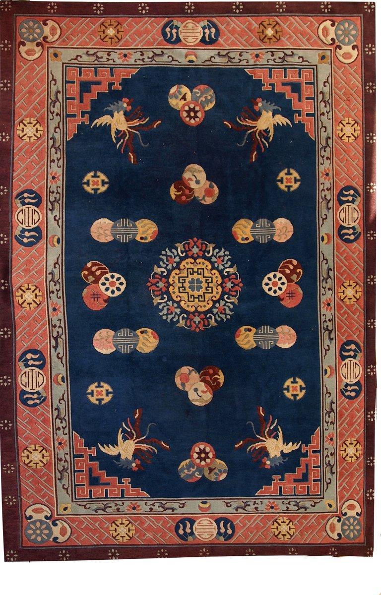 handgekn pfter chinesischer vintage art deco teppich. Black Bedroom Furniture Sets. Home Design Ideas