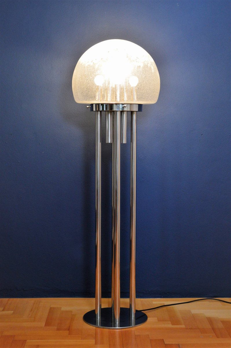 Italian Sculptural Space Age Chrome Plated And Murano Glass Floor Lamp,  1970 For Sale At Pamono