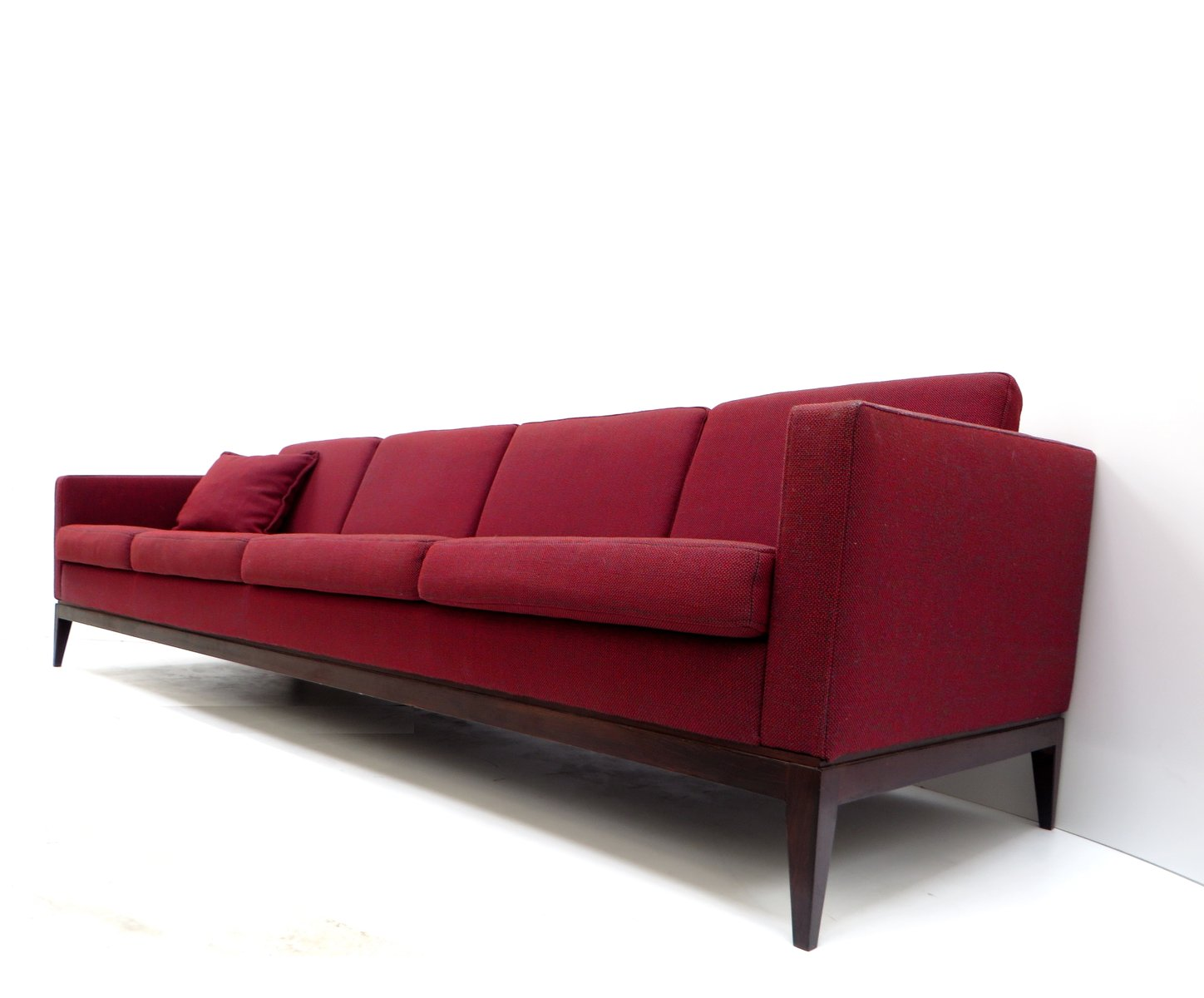 Vintage Burgundy Four Seater Sofa for sale at Pamono
