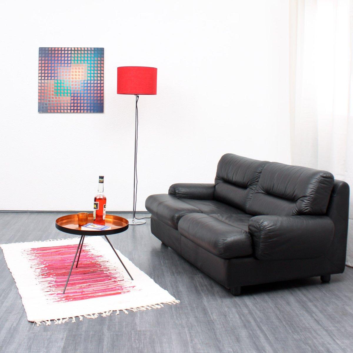 schwarzes vintage 2 sitzer ledersofa 1970er bei pamono kaufen. Black Bedroom Furniture Sets. Home Design Ideas