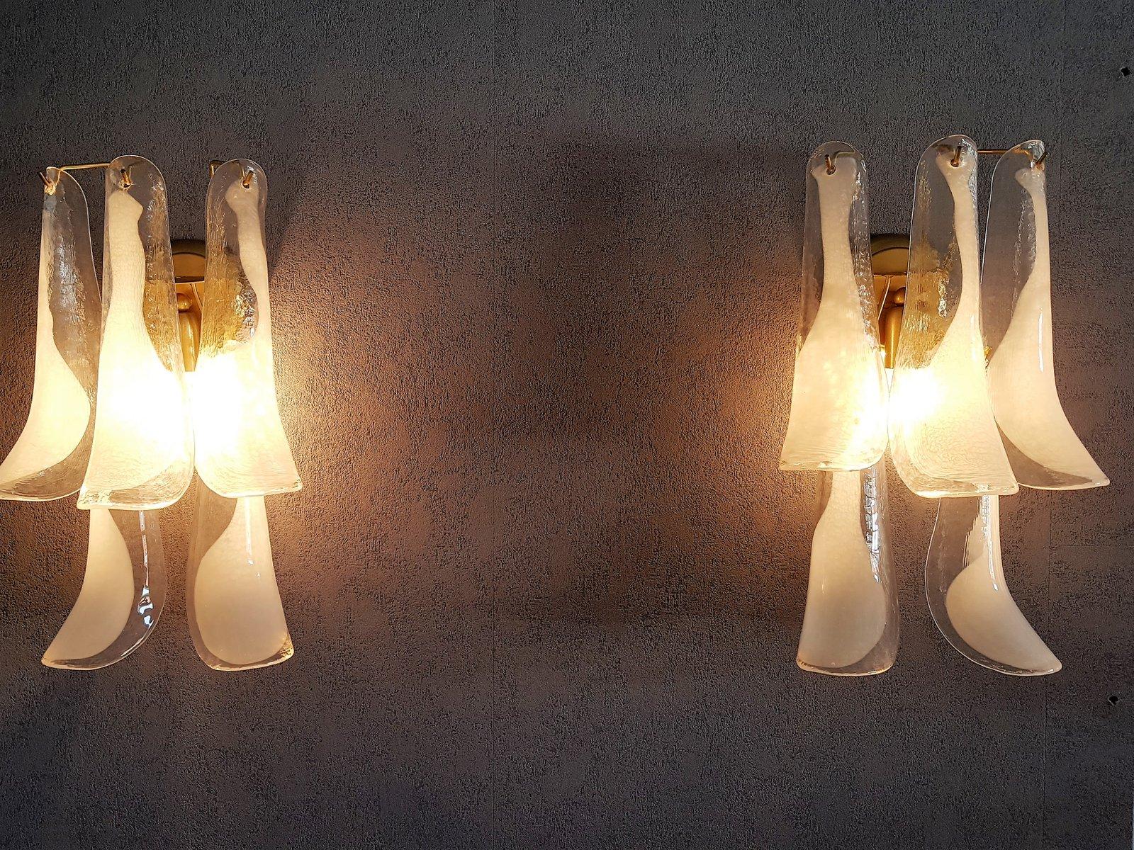 italienische vintage murano glas wandlampen von mazzega. Black Bedroom Furniture Sets. Home Design Ideas