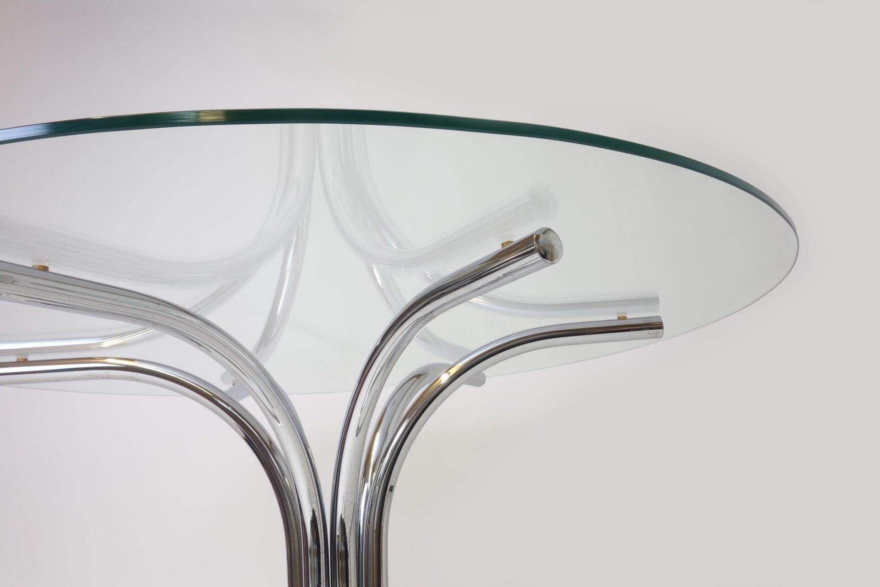 italienischer vintage esstisch mit runder glasplatte 1970er bei pamono kaufen. Black Bedroom Furniture Sets. Home Design Ideas