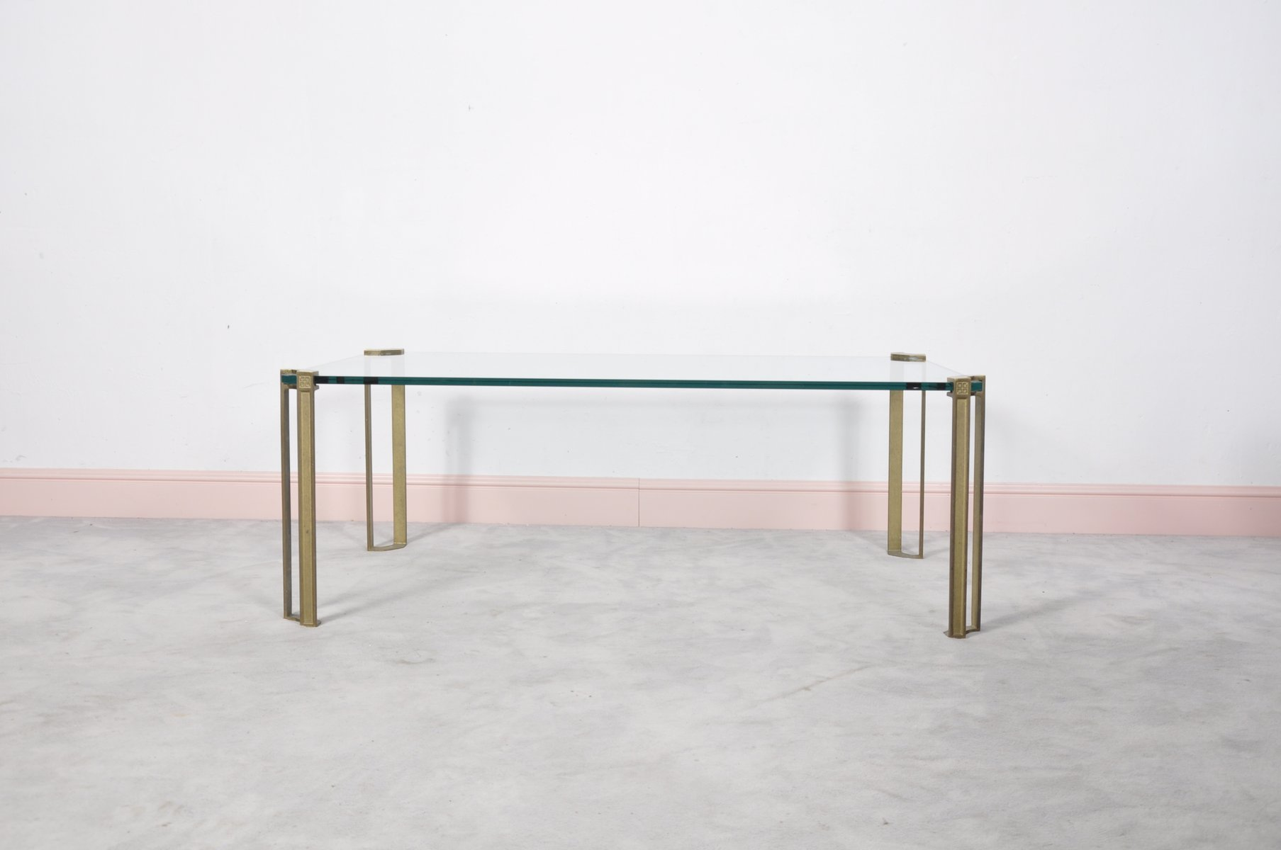 Vintage Glass Brass Coffee Table by Peter Ghyczy for sale at Pamono