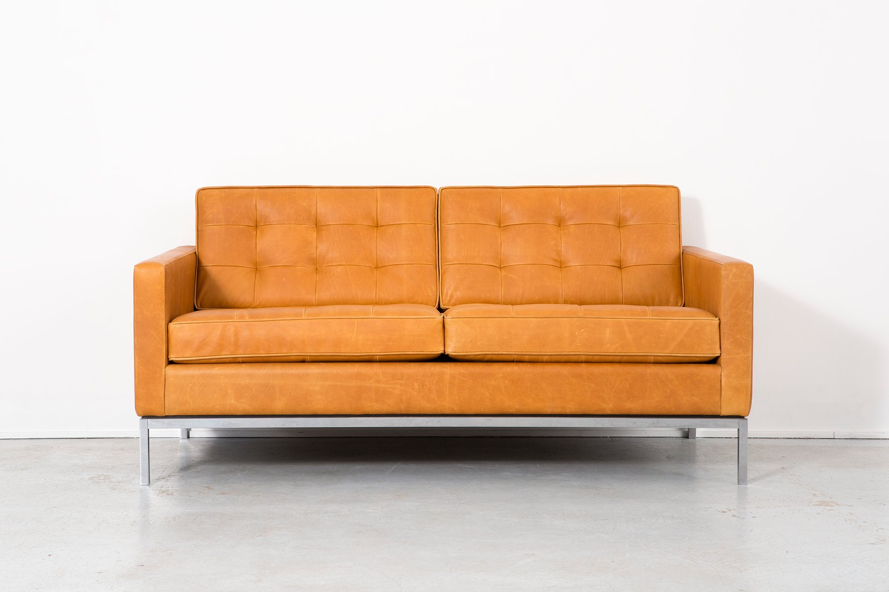 leather sofa by florence knoll bassett for knoll 1970s for sale at pamono. Black Bedroom Furniture Sets. Home Design Ideas