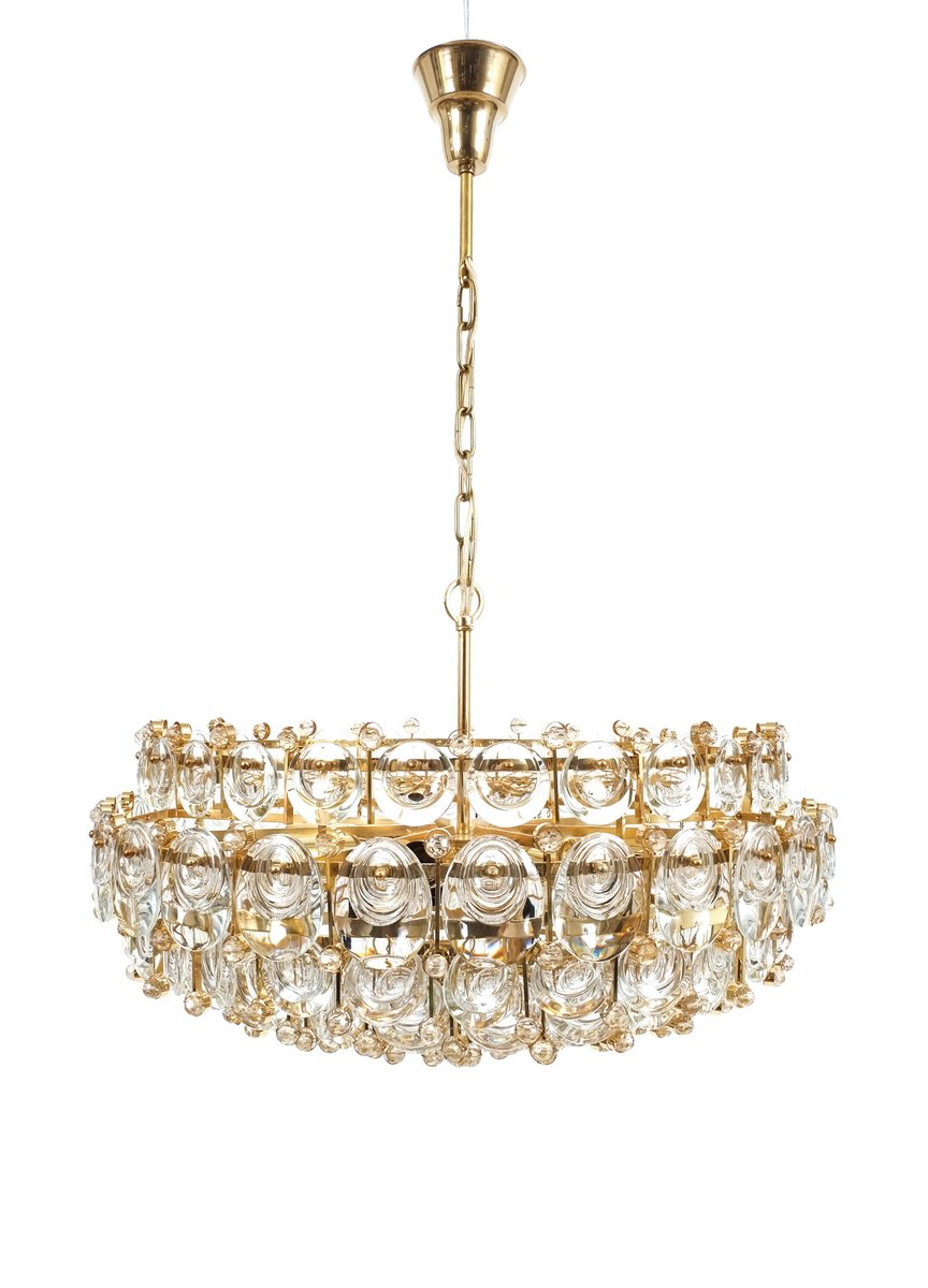 Large gilt brass glass chandelier from palwa 1960s for sale at large gilt brass glass chandelier from palwa 1960s mozeypictures Gallery