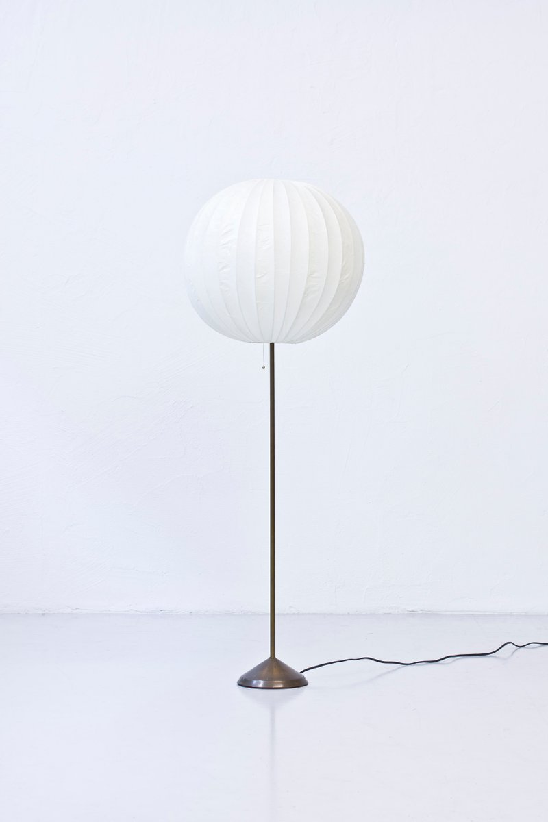 Swedish floor lamp with paper shade 1950s for sale at pamono swedish floor lamp with paper shade 1950s mozeypictures Image collections