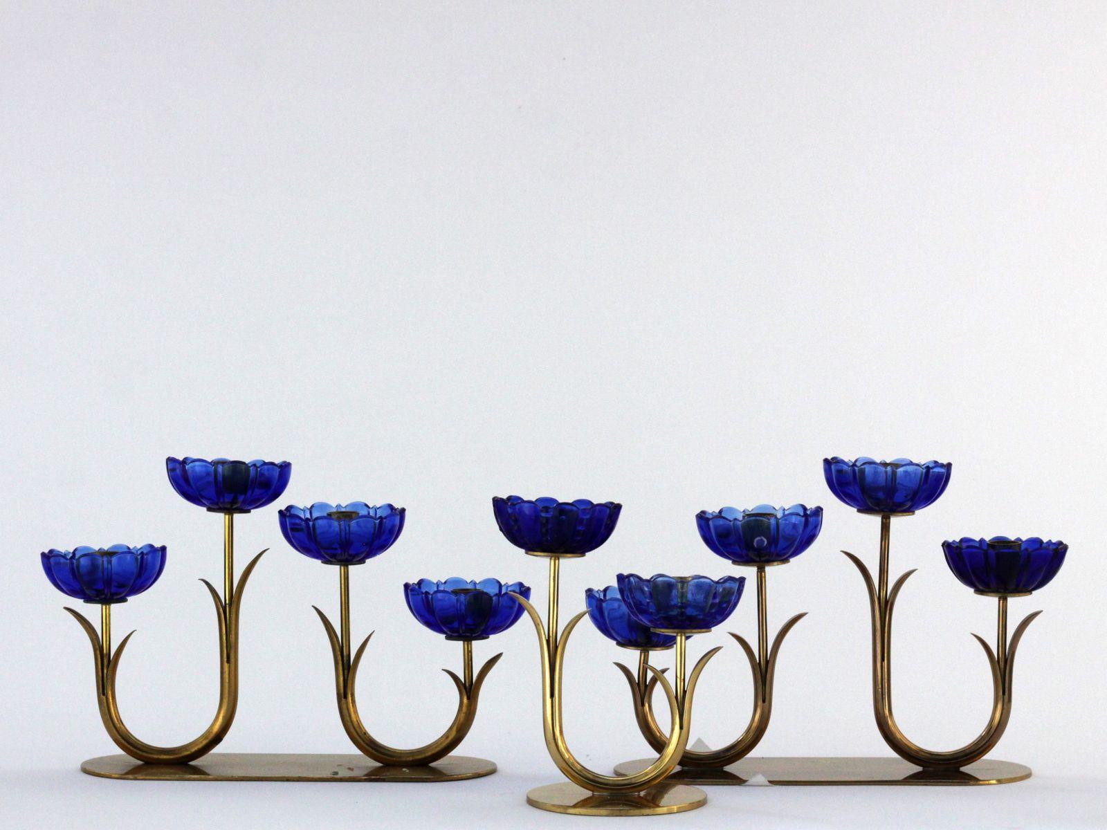 kerzenst nder aus messing glas von gunnar ander f r. Black Bedroom Furniture Sets. Home Design Ideas