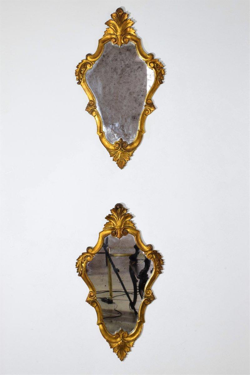 vergoldete italienische spiegel 2er set bei pamono kaufen. Black Bedroom Furniture Sets. Home Design Ideas