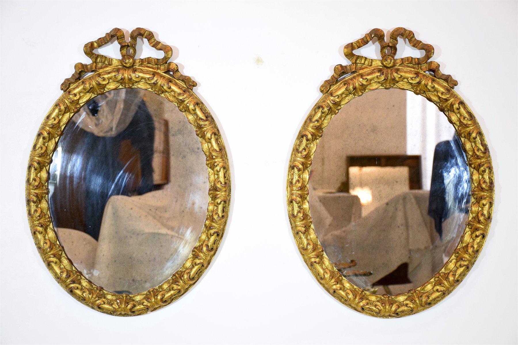 antike spiegel mit vergoldetem schleifenrahmen 2er set bei pamono kaufen. Black Bedroom Furniture Sets. Home Design Ideas