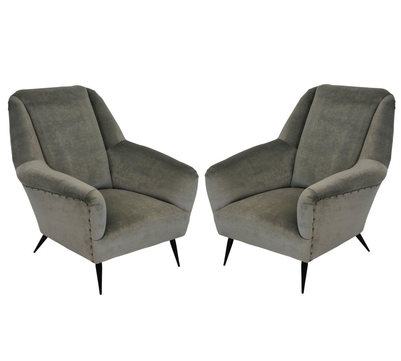 mid century sessel aus samt von gio ponti 2er set bei pamono kaufen. Black Bedroom Furniture Sets. Home Design Ideas