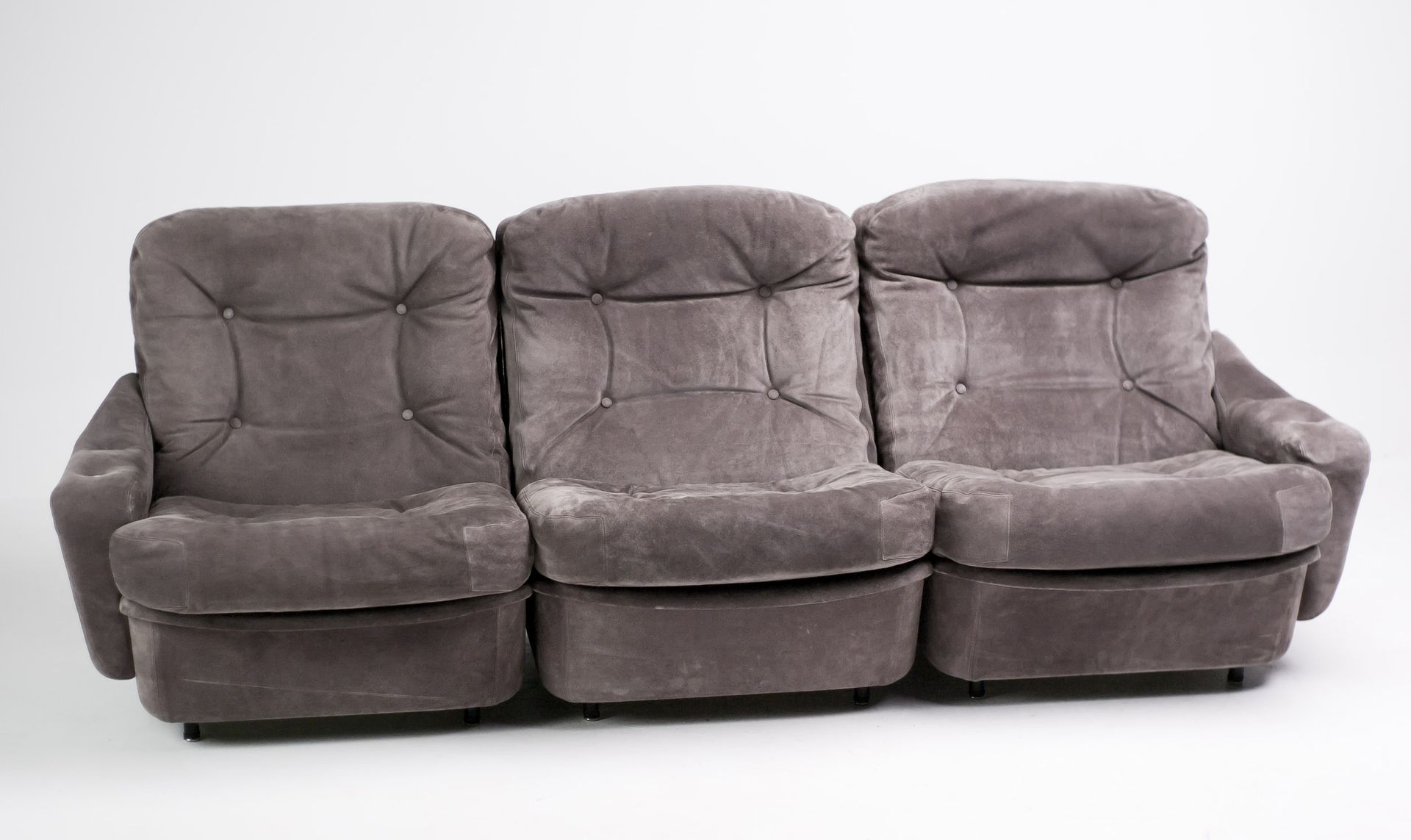 Vintage Three Seater Modular Sofas In Suede From Airborne Set Of 2