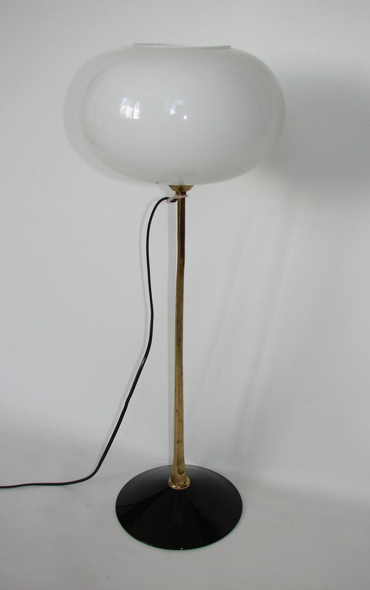 Mid Century Table Lamp With White Glass Bowl 1960s For Sale At Pamono