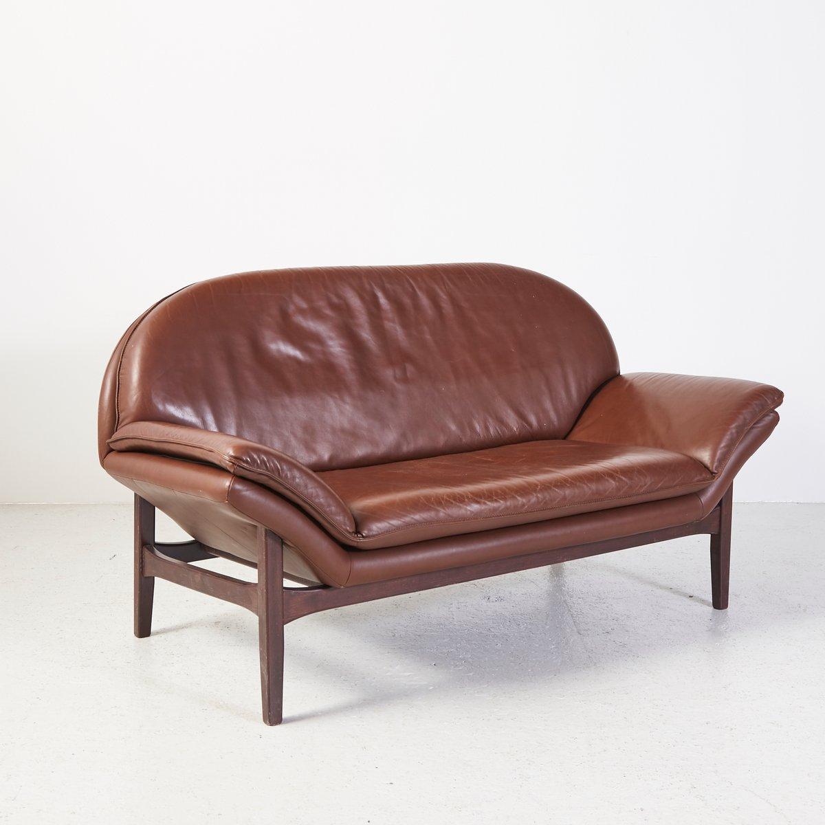 Divano a due posti vintage in pelle in vendita su Pamono