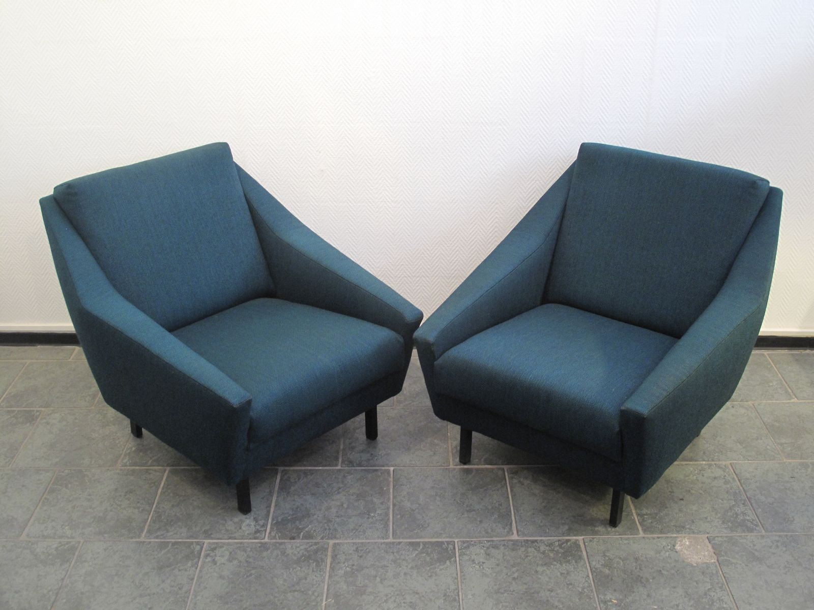 blaue italienische mid century sessel 1970er 2er set bei. Black Bedroom Furniture Sets. Home Design Ideas