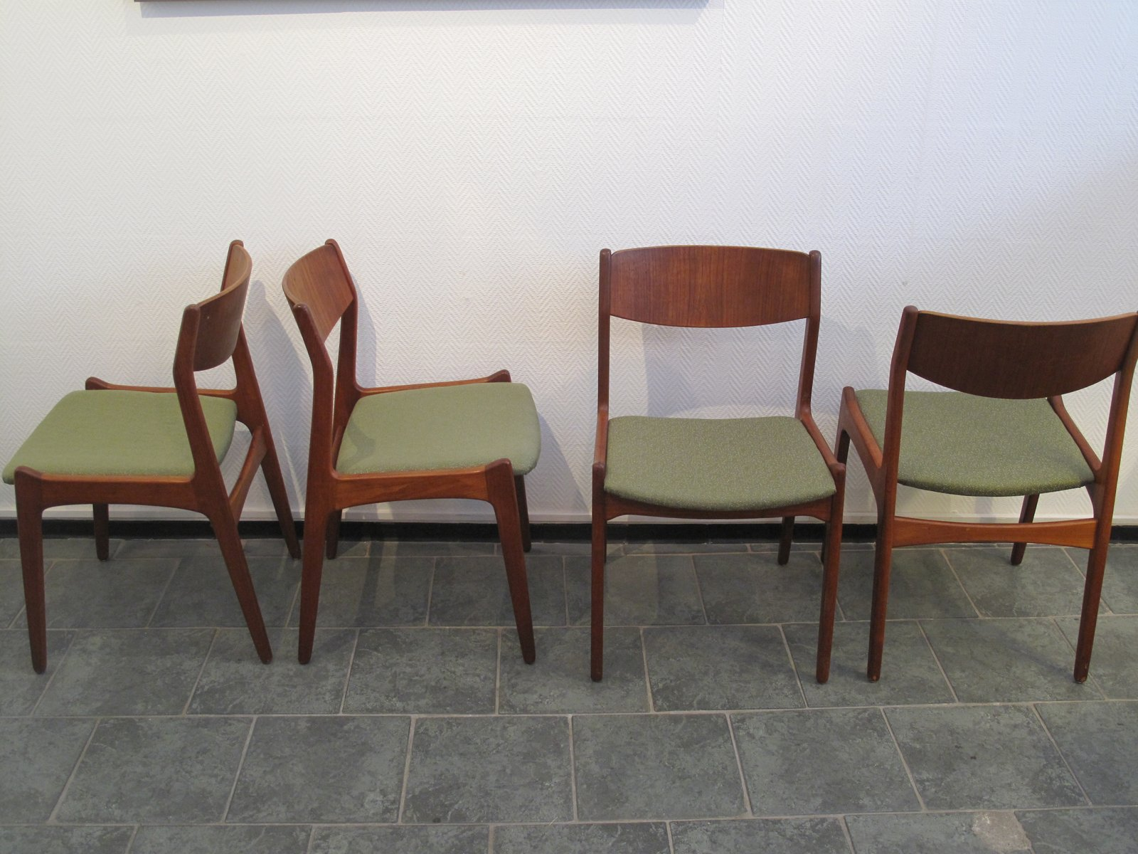 Mid Century Danish Sage Green Teak Dining Chairs 1960s Set Of 6 For Sale At Pamono