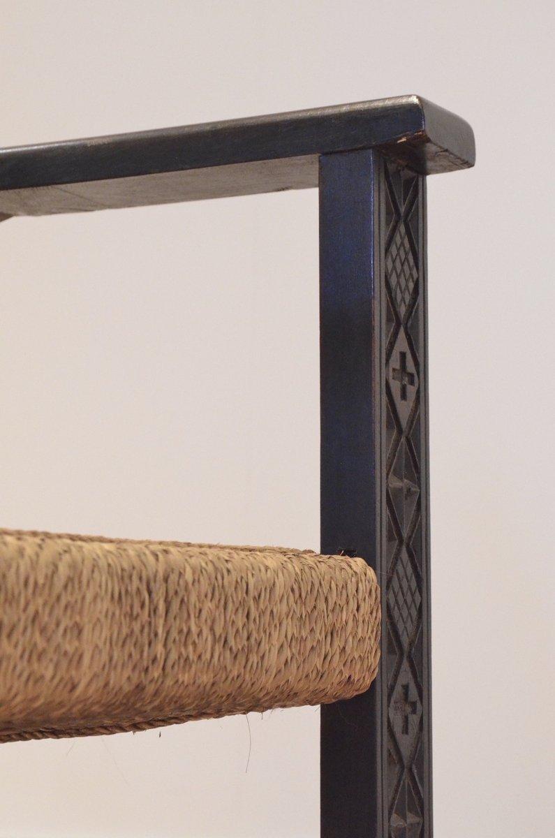 franz sische vintage sessel aus geschnitztem ebonisiertem holz rattan bei pamono kaufen. Black Bedroom Furniture Sets. Home Design Ideas