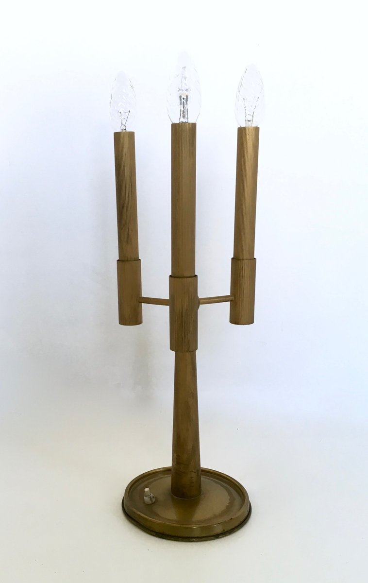 Italienische mid century messing tischlampe mit drei for Italienische leuchten