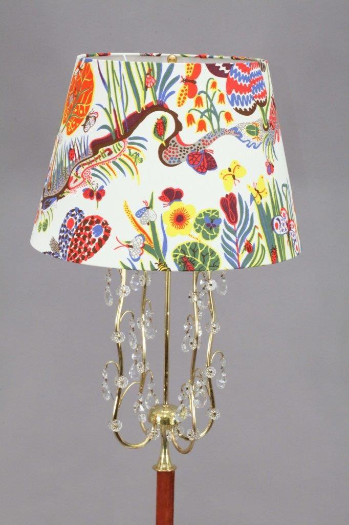 stehlampe mit stoffschirm von rupert nikoll 1950er bei pamono kaufen. Black Bedroom Furniture Sets. Home Design Ideas