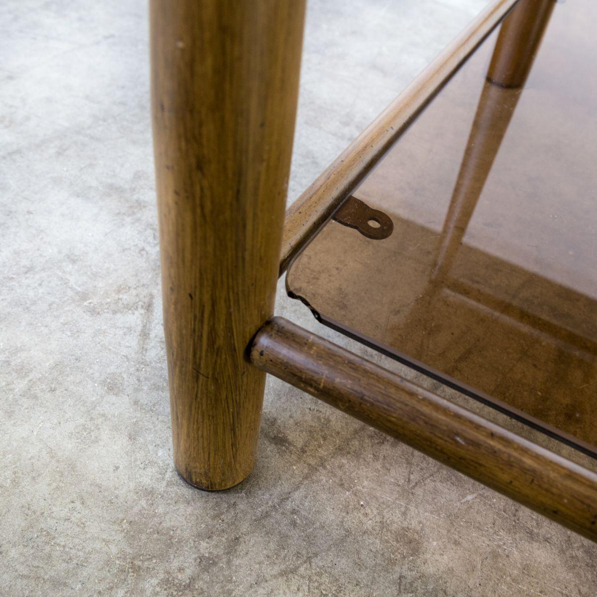 metall holz und glas beistelltisch 1970er bei pamono kaufen. Black Bedroom Furniture Sets. Home Design Ideas