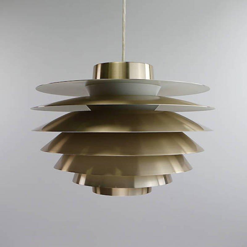 Danish Brass Ceiling Light By Sven Middelboe For Nordisk Solar, 1970s