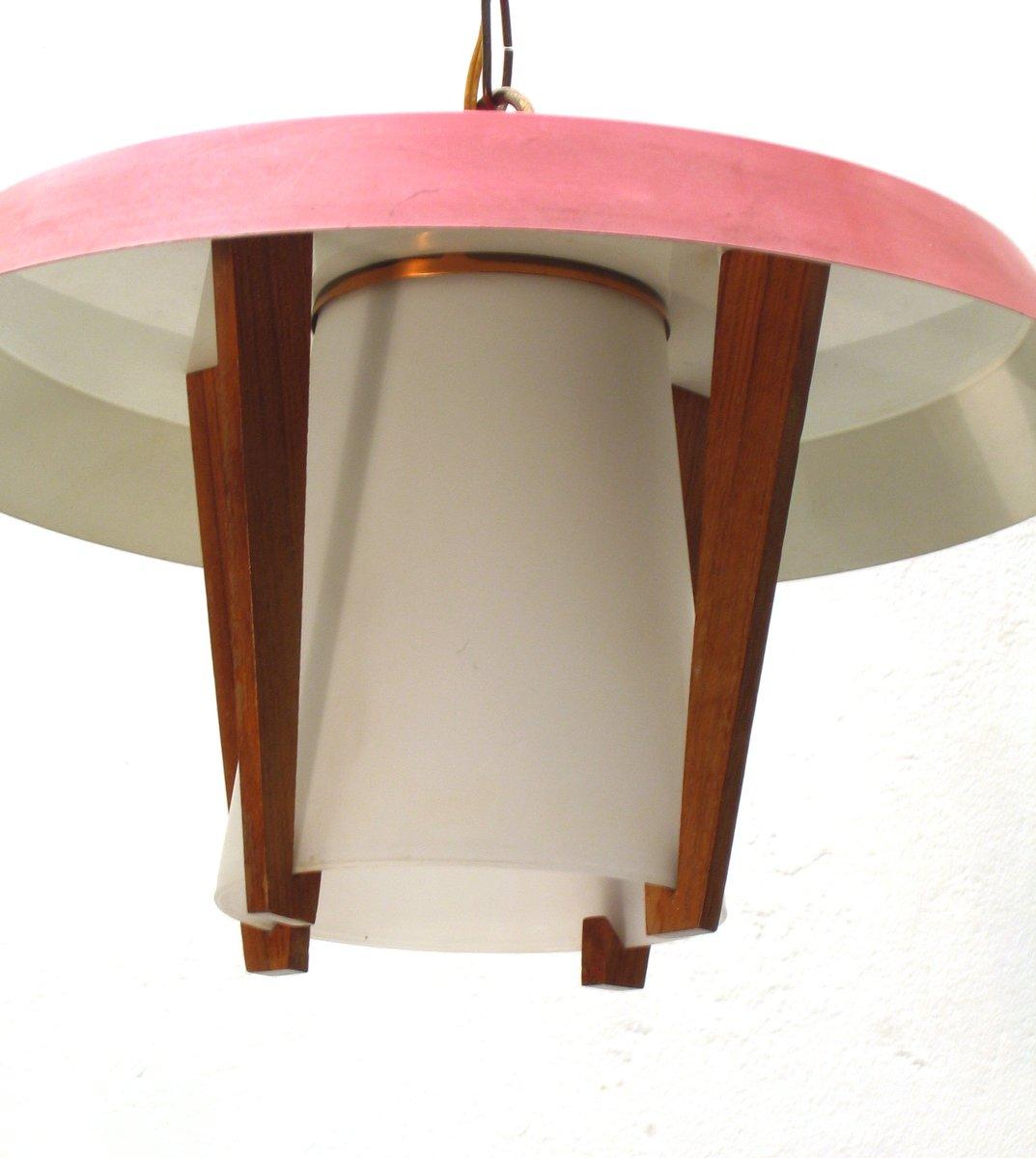 vintage h ngelampe aus metall holz und glas 1950er bei. Black Bedroom Furniture Sets. Home Design Ideas
