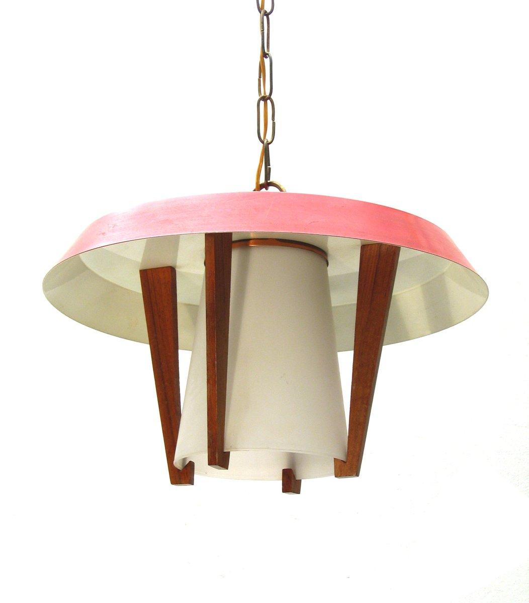 vintage h ngelampe aus metall holz und glas 1950er bei pamono kaufen. Black Bedroom Furniture Sets. Home Design Ideas