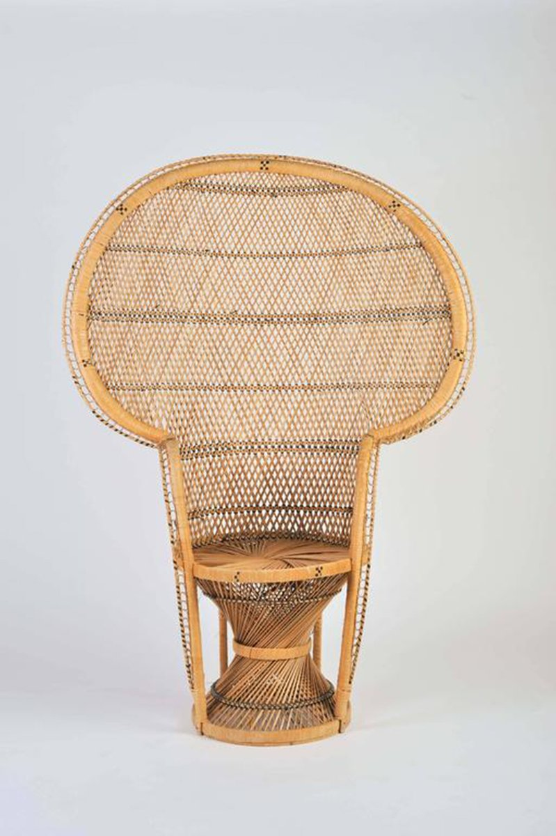 Nice Vintage Bohemian Wicker Peacock Chair, 1970s