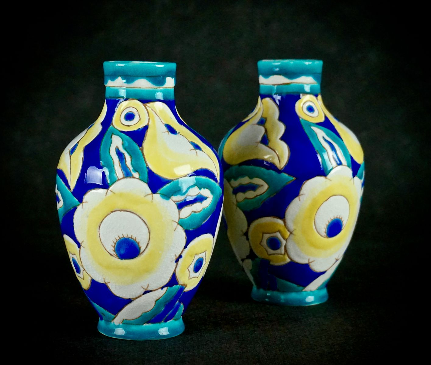 Art deco vases by charles catteau for boch freres keramis 1932 art deco vases by charles catteau for boch freres keramis 1932 set of 2 floridaeventfo Image collections