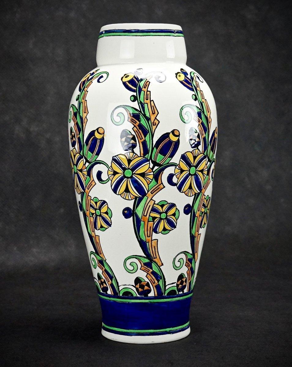 grand vase art d co par charles catteau pour boch fr res 1927 en vente sur pamono. Black Bedroom Furniture Sets. Home Design Ideas