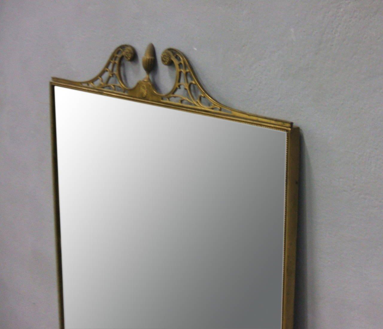 Specchio da parete grande con cornice in ottone, Italia, anni \'50 ...