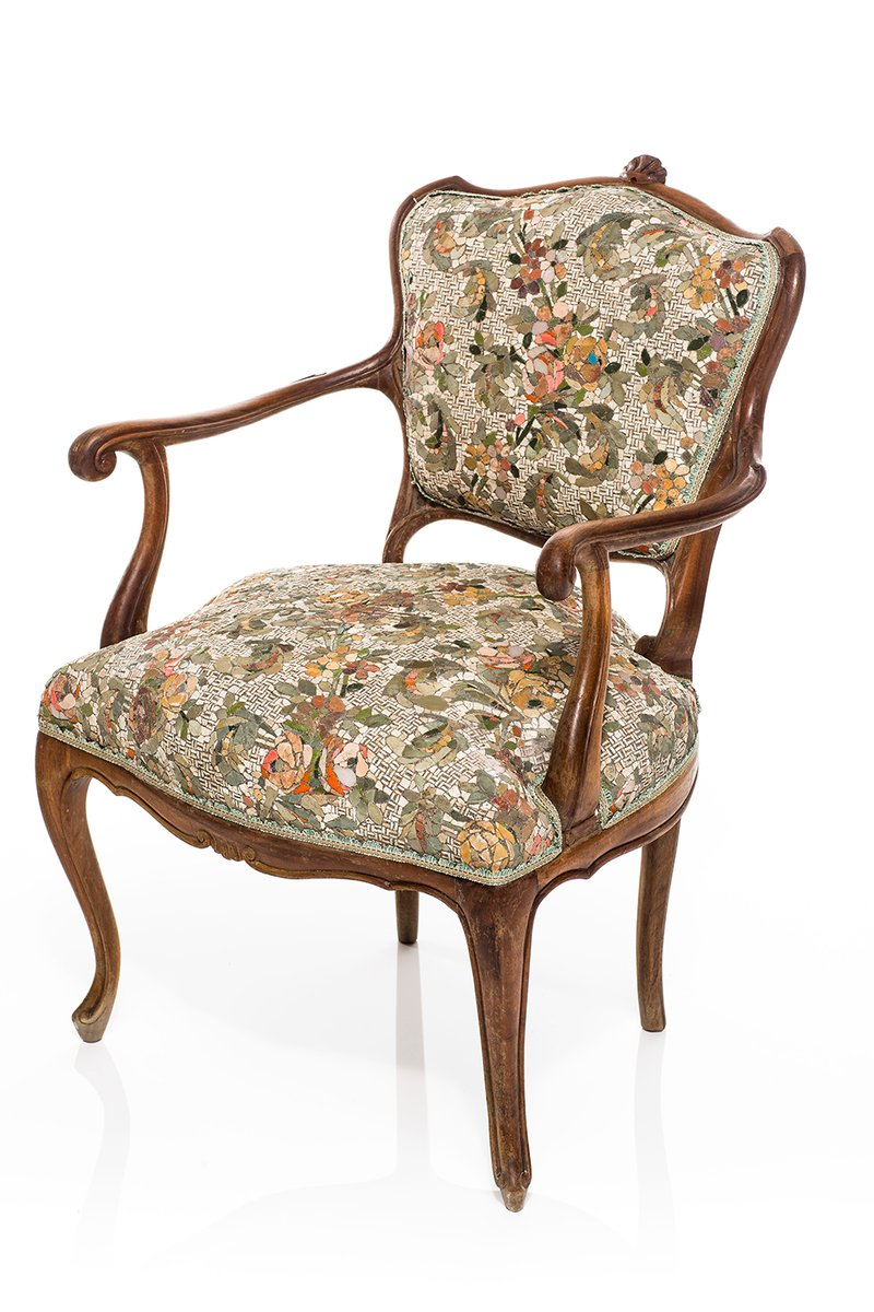 Price per piece - Antique Armchair With Floral Pattern Mosaic By Yukiko Nagai, 2013