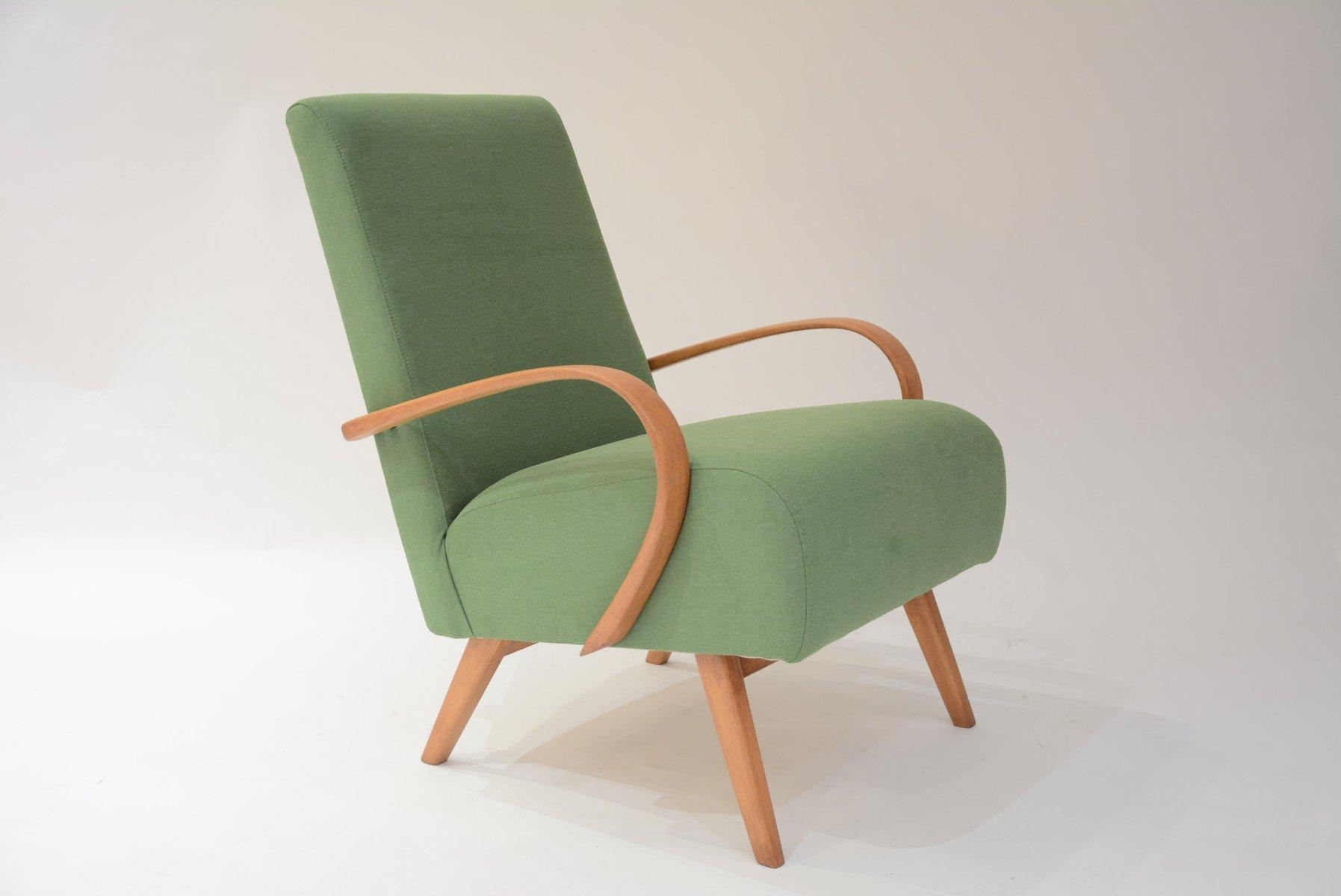 Mid Century Czech Green Armchair By Jindrich Halabala