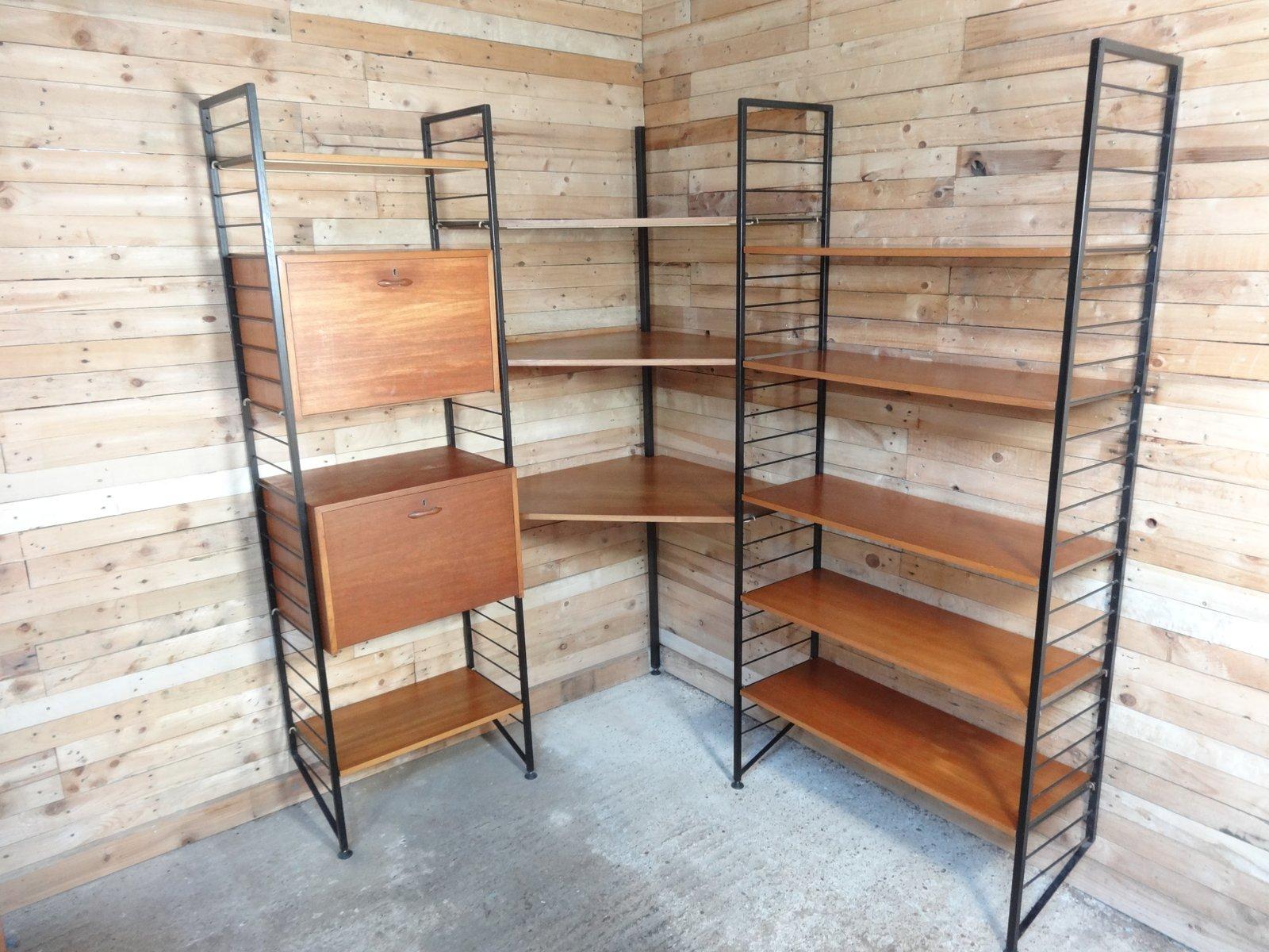 wand eckregal mit schreibpult von robert heal f r staples of cricklewood 1960er bei pamono kaufen. Black Bedroom Furniture Sets. Home Design Ideas