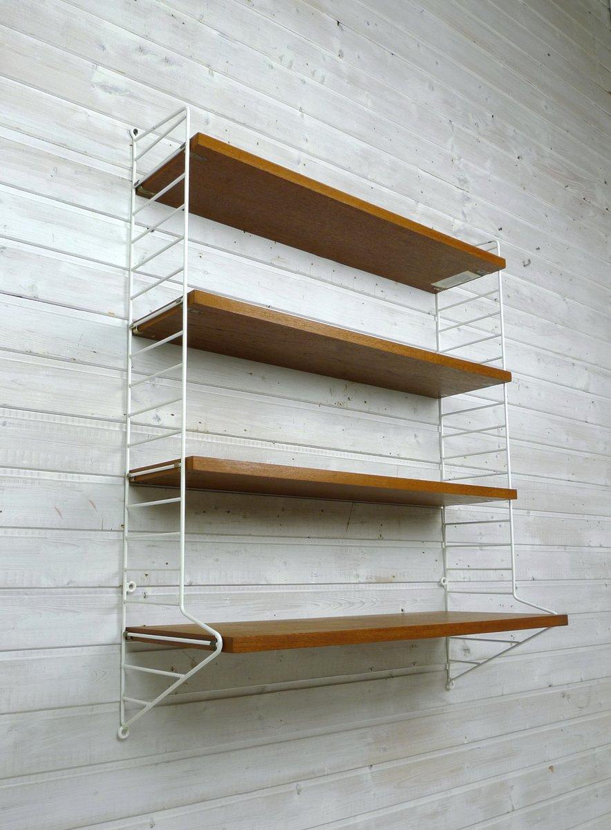 Nisse Strinning mid century teak wall shelf by nisse strinning for string