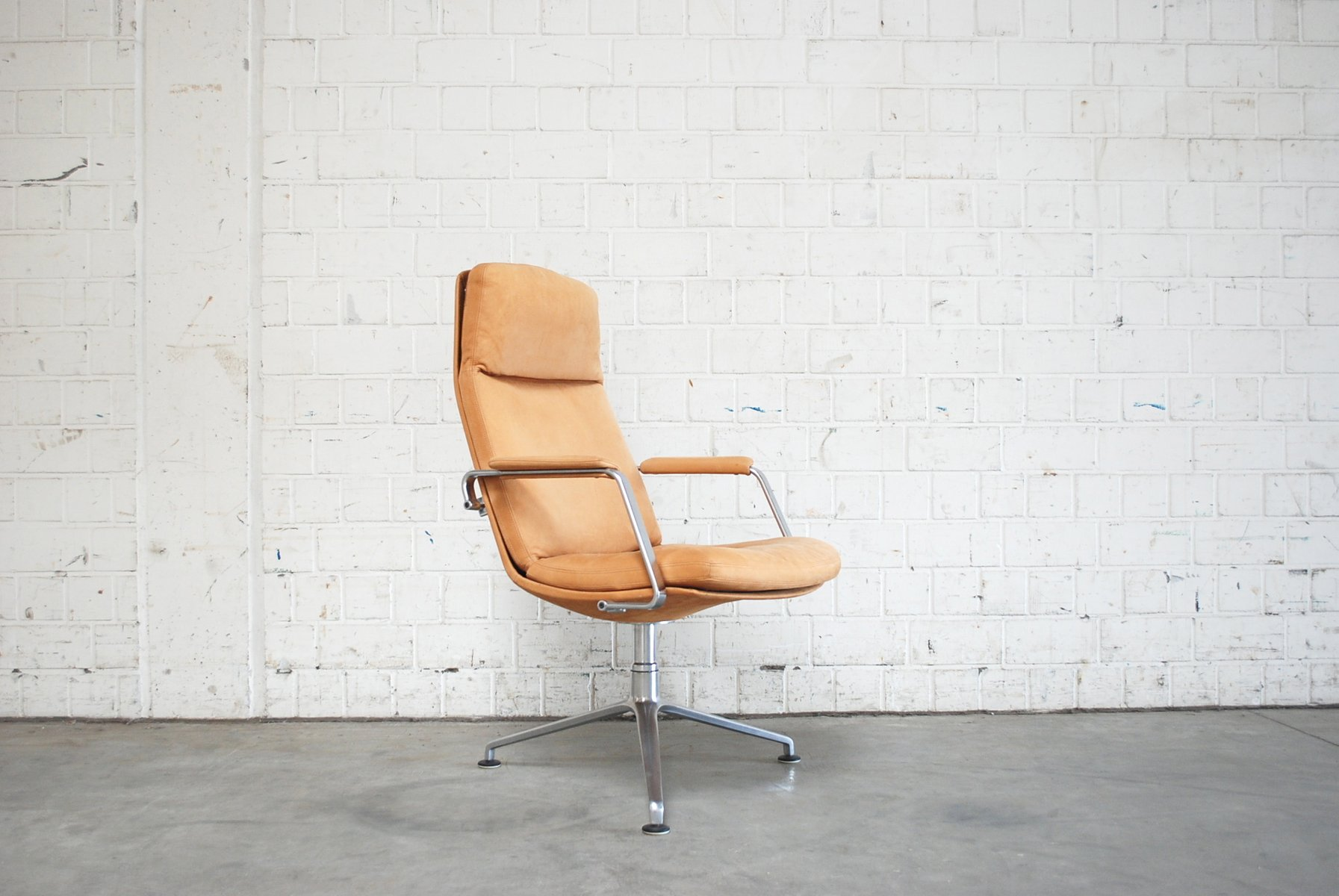 Mid Century FK 86 Cognac Sand Leather Office Chair By Preben Fabricius U0026  Jørgen Kastholm For Kill International